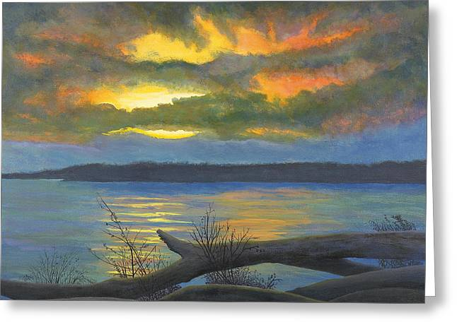 Winter Solstice at the confluence of the Mississippi and the Missouri Rivers Greeting Card by Garry McMichael