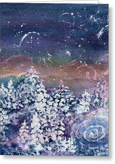 Gathering Mixed Media Greeting Cards - Winter Solstice  Greeting Card by Kathy Bassett