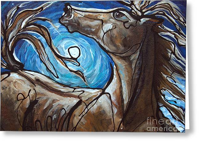 Winter Solstice Greeting Cards - Winter Solstice Moon Greeting Card by Jonelle T McCoy