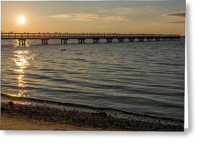 Winter Solstice Greeting Cards - Winter Solstice Seaside Park Pier Greeting Card by Terry DeLuco