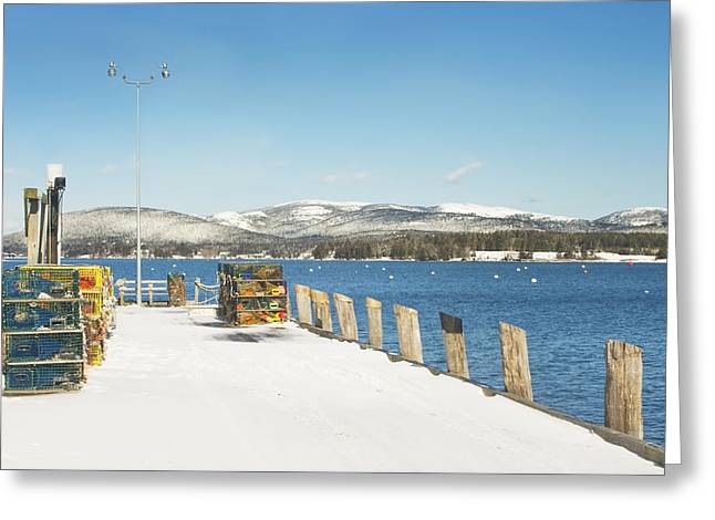 Lobster Traps Greeting Cards - Winter Southwest Harbor Mount Desert Island  Greeting Card by Keith Webber Jr
