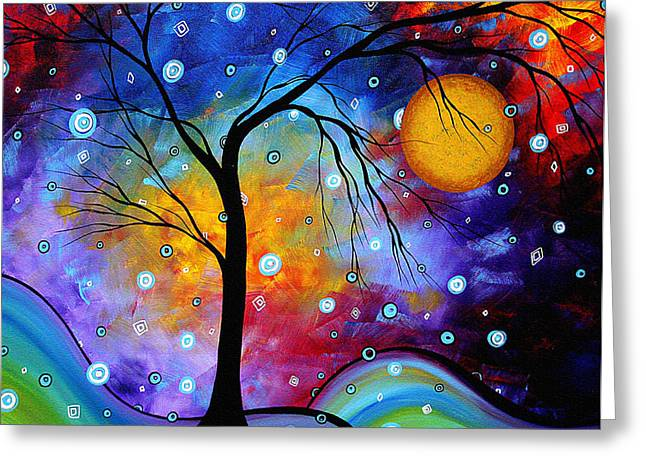 Modern Abstract Paintings Greeting Cards - WINTER SPARKLE Original MADART Painting Greeting Card by Megan Duncanson