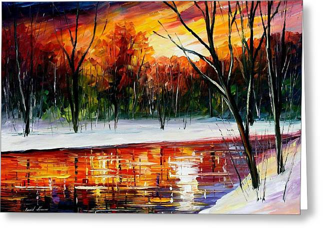Sizes Greeting Cards - Winter Spirit - PALETTE KNIFE Oil Painting On Canvas By Leonid Afremov Greeting Card by Leonid Afremov