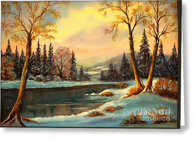 Nature Scene Paintings Greeting Cards - Winter Splendor Greeting Card by Hazel Holland
