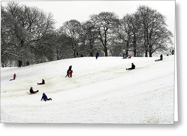 Tobogganing Greeting Cards - Winter Sports UK Greeting Card by John Chatterley