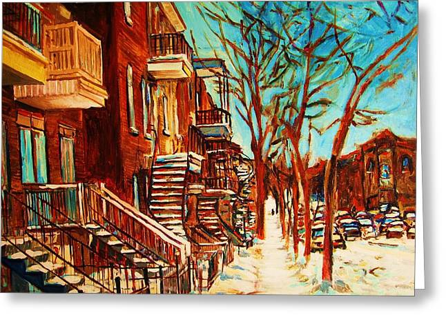 Montreal Artist Paints Verdun Street Scenes Greeting Cards - Winter Staircase Greeting Card by Carole Spandau