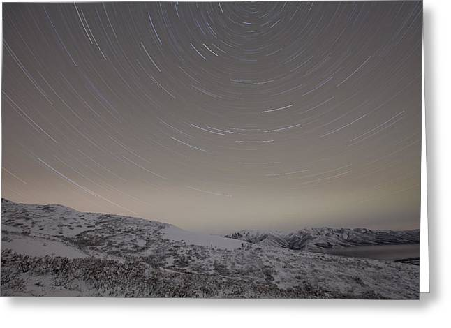 3 Exposure Greeting Cards - Winter Star Trail Greeting Card by Tim Grams
