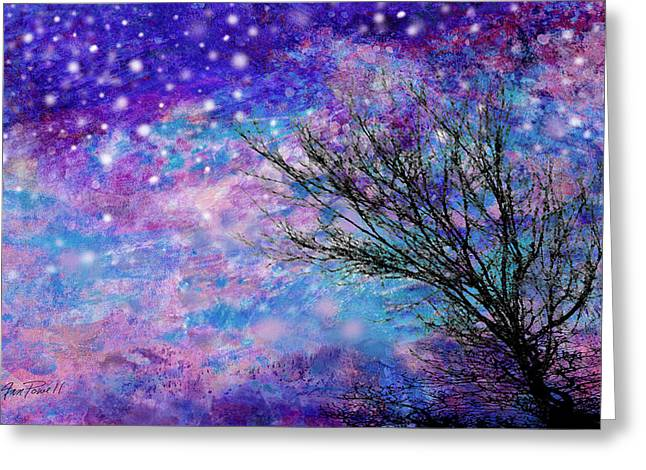 Blue And Purpe Greeting Cards - Winter Starry Night Greeting Card by Ann Powell