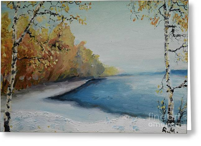 Autumn Leaf On Water Paintings Greeting Cards - Winter Starts At Kymi River Greeting Card by Raija Merila