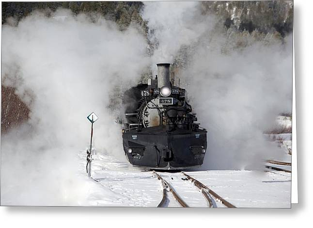 Engine House Greeting Cards - Winter Steam at Rockwood Colorado Greeting Card by Ken Smith