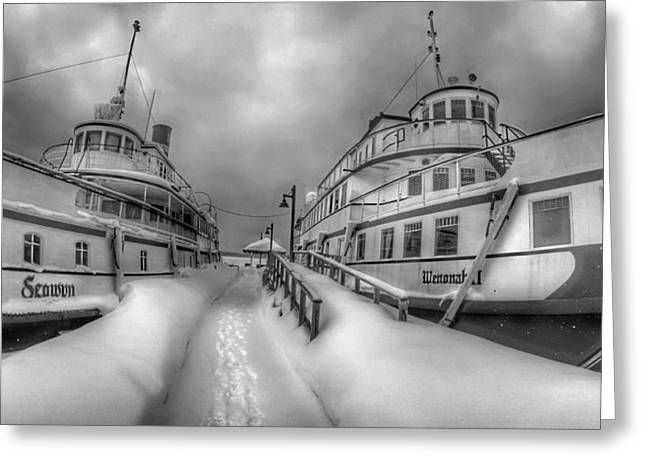 Wooden Ship Greeting Cards - Winter Steamers Greeting Card by Lliem Seven