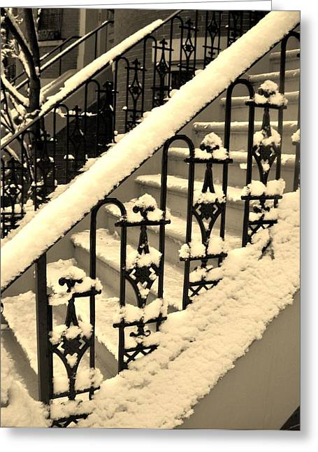 Iron Greeting Cards - Winter Steps Greeting Card by Lori-Anne Fay