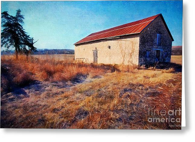 Outbuildings Digital Art Greeting Cards - Winter Stone Barn Greeting Card by Anna Surface