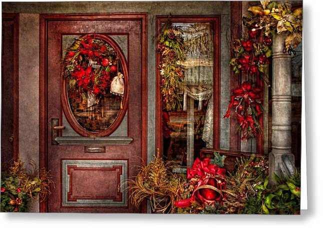 Winter - Store - Metuchen NJ - Dressed for the holidays Greeting Card by Mike Savad