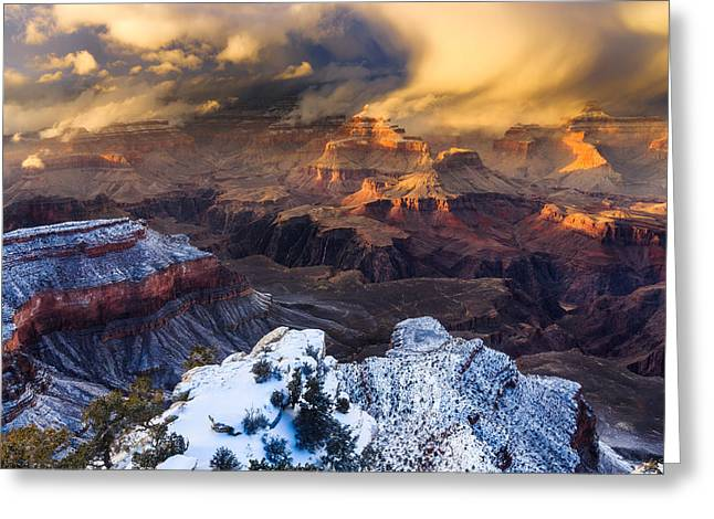 Isis Greeting Cards - Winter Storm at Grand Canyon Greeting Card by Adam  Schallau