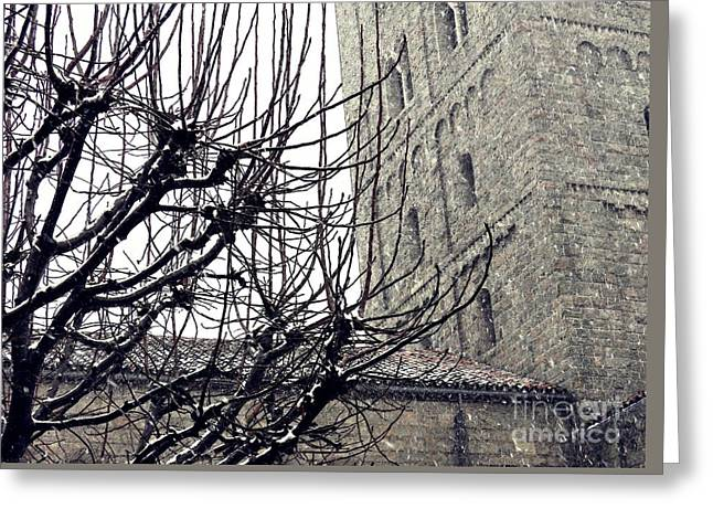 Winter Storm Greeting Cards - Winter Storm at the Cloisters 2 Greeting Card by Sarah Loft