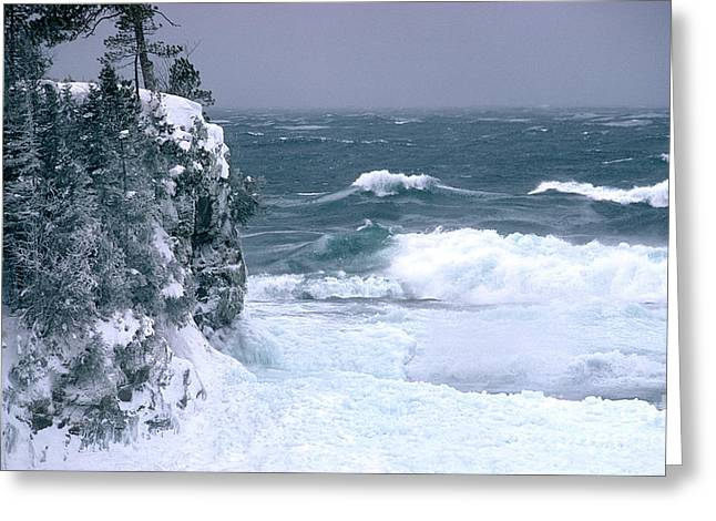 Choppy Water Greeting Cards - Winter Storm Greeting Card by James L. Amos