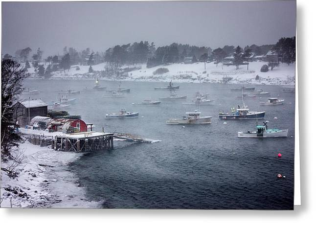 Storm Prints Photographs Greeting Cards - Winter Storm on Mackerel Cove Greeting Card by Benjamin Williamson