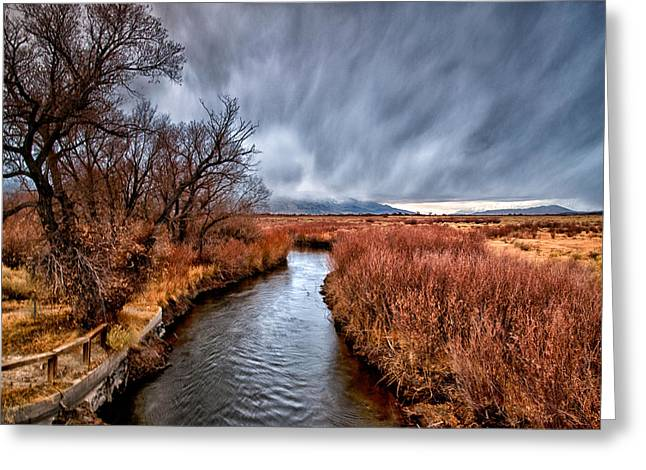 Winter Storm Photographs Greeting Cards - Winter Storm over Owens River Greeting Card by Cat Connor