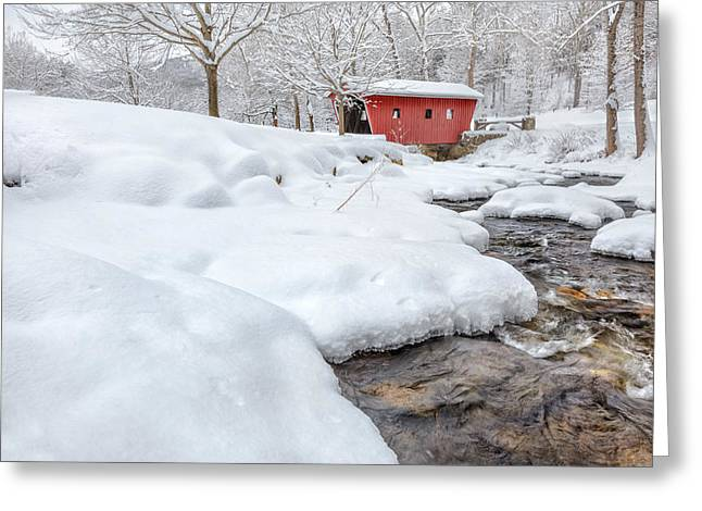 Connecticut Covered Bridge Greeting Cards - Winter Stream Greeting Card by Bill  Wakeley