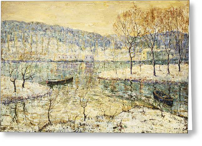 Water Vessels Greeting Cards - Winter Stream Greeting Card by Ernest Lawson