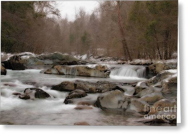 Geraldine Deboer Greeting Cards - Winter Stream Greeting Card by Geraldine DeBoer