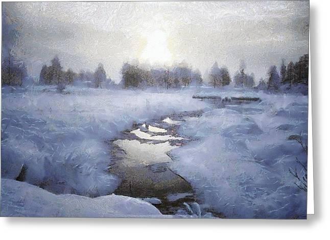 Stream Digital Art Greeting Cards - Winter stream Greeting Card by Gun Legler