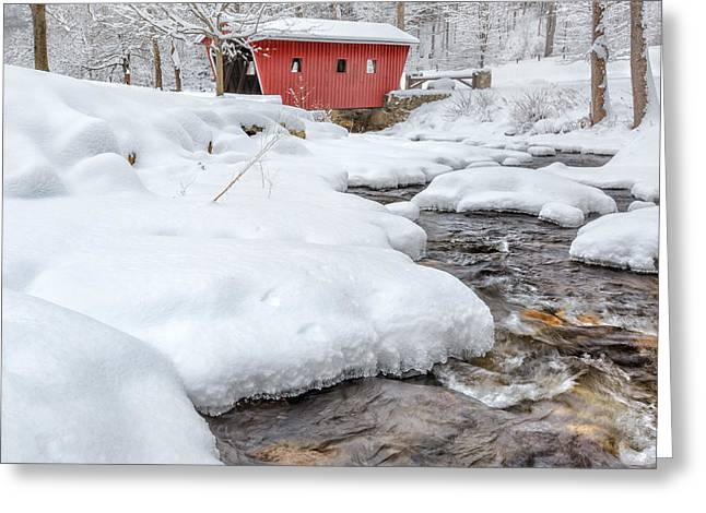 Connecticut Covered Bridge Greeting Cards - Winter Stream Square Greeting Card by Bill  Wakeley