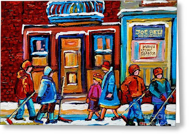 Winter Street In Saint Henri Greeting Card by Carole Spandau