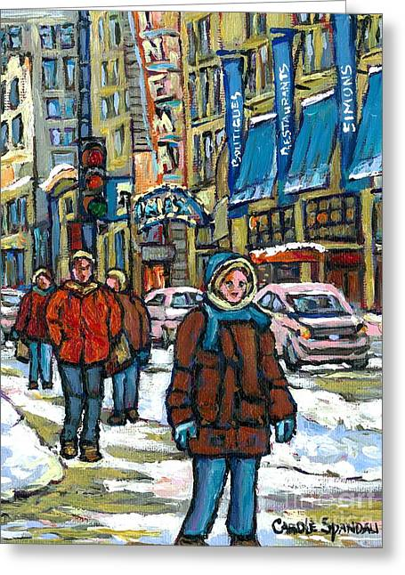 Street Scenes Paintings Greeting Cards - Winter Stroll By Simons On Rue Ste.catherine Canadian Urban City Scene Painting Best Montreal Art Greeting Card by Carole Spandau