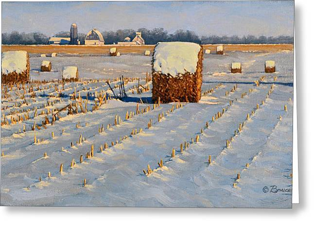 Snow Scape Greeting Cards - Winter Stubble Bales Greeting Card by Bruce Morrison