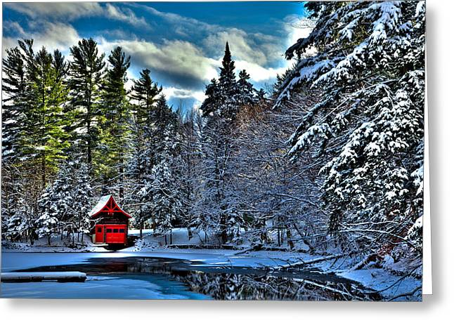 Patterson House Greeting Cards - Winter Sun on the Red Boathouse Greeting Card by David Patterson