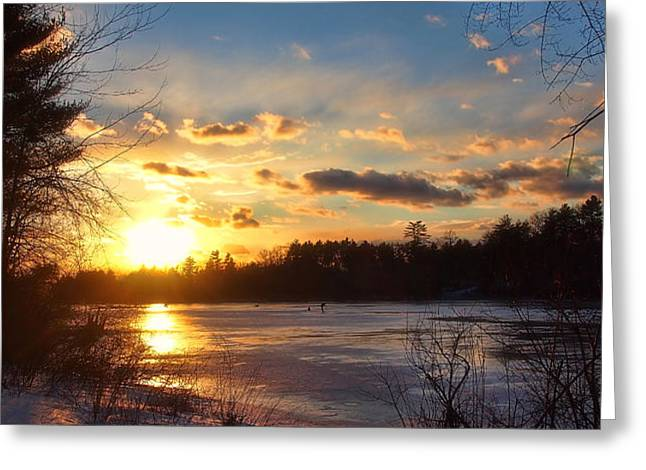 Winter Sundown Greeting Card by Joann Vitali