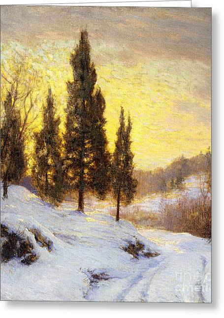 Concept Paintings Greeting Cards - Winter Sundown Greeting Card by Walter Launt Palmer