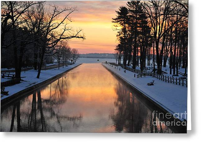 Weather Greeting Cards - Winter Sunrise at Mitchell State Park Greeting Card by Terri Gostola