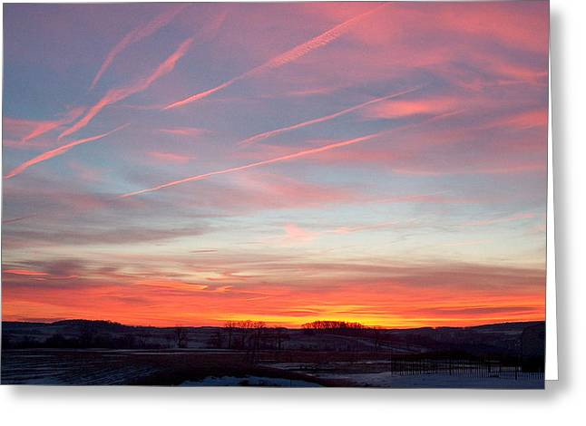 Early Pyrography Greeting Cards - Winter Sunrise Greeting Card by Barry Cleveland