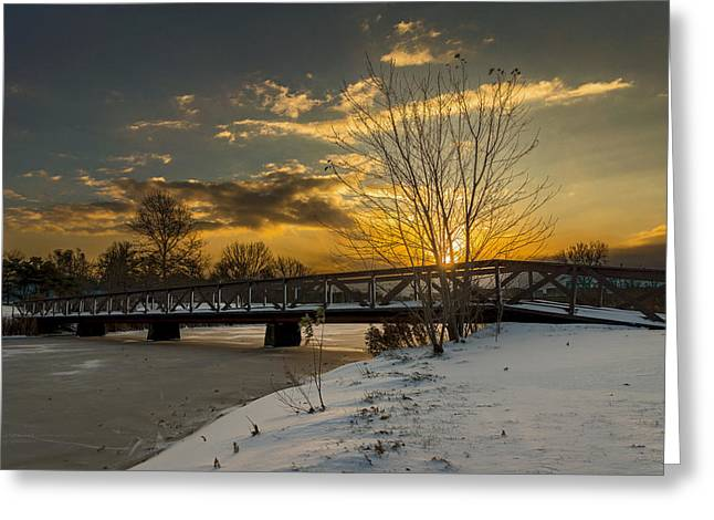 Winter Scenes Rural Scenes Greeting Cards - Winter sunrise Greeting Card by Chris Bordeleau