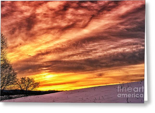 Colorful Cloud Formations Greeting Cards - Winter Sunrise Drama Greeting Card by Thomas R Fletcher