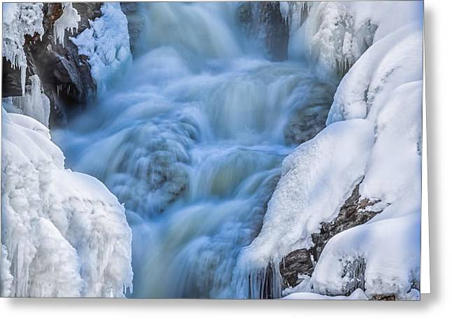 Winter Sunrise Great Falls Greeting Card by Bob Orsillo
