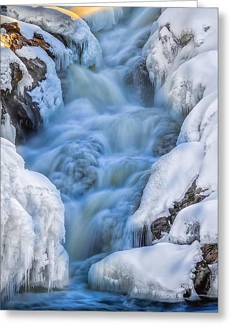 Androscoggin Greeting Cards - Winter Sunrise Great Falls Greeting Card by Bob Orsillo
