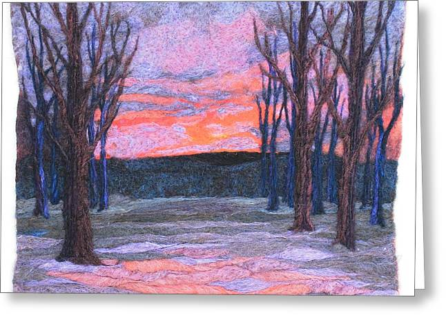 Fiber Art Tapestries - Textiles Greeting Cards - Winter Sunrise Greeting Card by Michelle Bowers
