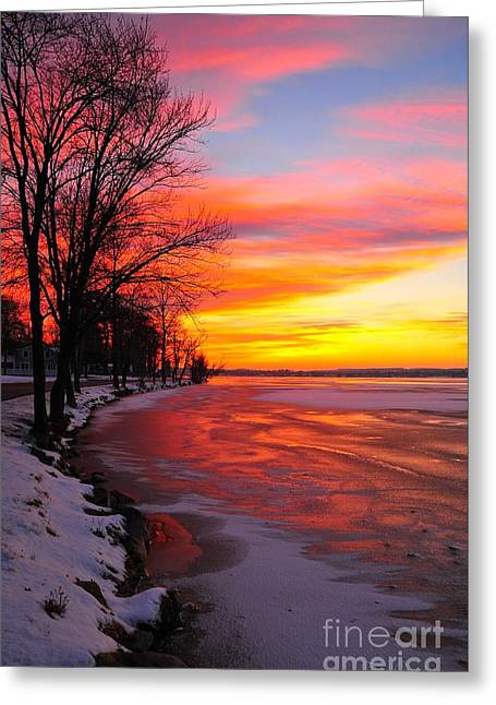 Lakes Greeting Cards - Winter Sunrise on Lake Cadillac Greeting Card by Terri Gostola
