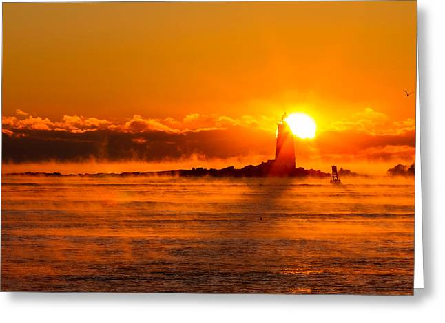 New England Lighthouse Greeting Cards - Winter Sunrise Whaleback Light Greeting Card by Jeff Sinon