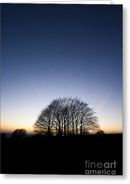 Wintry Photographs Greeting Cards - Winter Sunset Greeting Card by Anne Gilbert