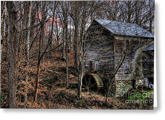 Grist Mill Greeting Cards - Winter Sunset at Cooks Mill Greeting Card by Benanne Stiens