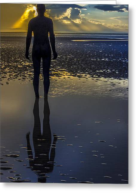 Crosby Greeting Cards - Winter sunset at Crosby Beach Greeting Card by Paul Madden