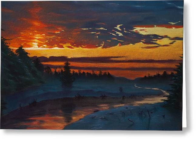 Winter Pastels Greeting Cards - Winter Sunset Greeting Card by Christopher Reid