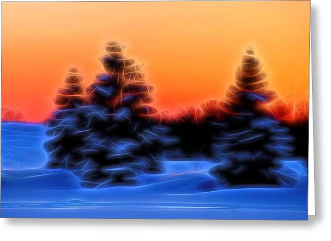 Snowstorm Mixed Media Greeting Cards - Winter Sunset Greeting Card by Dan Sproul