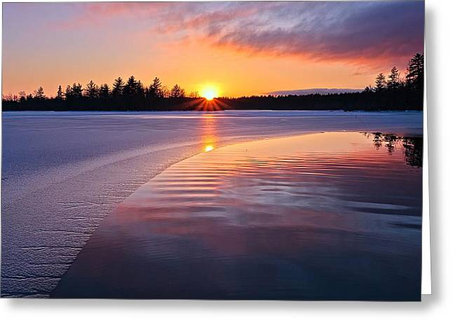 Pastel Palette Greeting Cards - Winter Sunset  Dover NH Greeting Card by Jeff Sinon