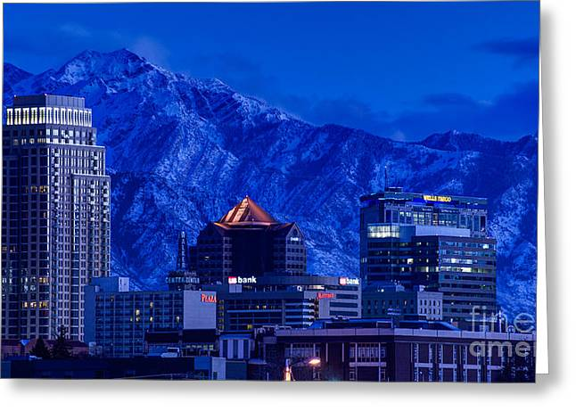 Winter Night Greeting Cards - Winter Sunset Downtown Salt Lake City - Utah Greeting Card by Gary Whitton